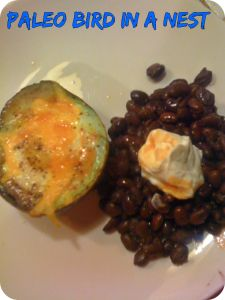Paleo Bird in a Nest with Black Beans